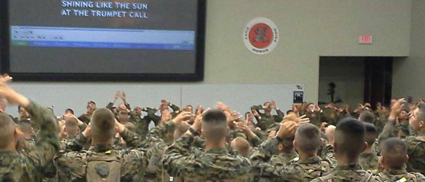 """U.S. Marines sing """"Days of Elijah"""""""
