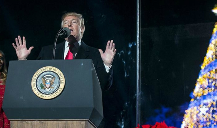 Donald Trump speaks at tree lighting ceremony